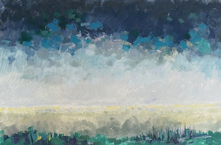 Spring Storm Norfolk, oil on canvas, monogrammed lower right, 50cm x 76cm,