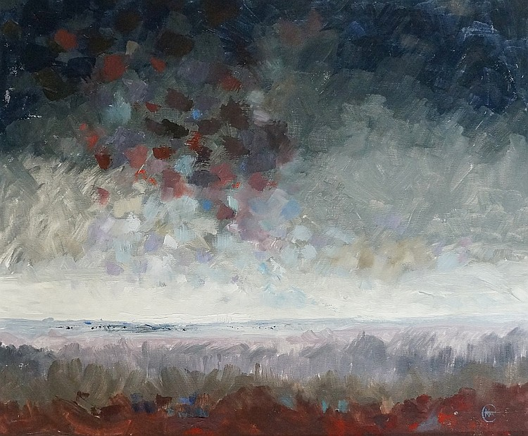 Norfolk Marsh, oil on artist board, monogrammed lower right, 50cm x 60cm, f