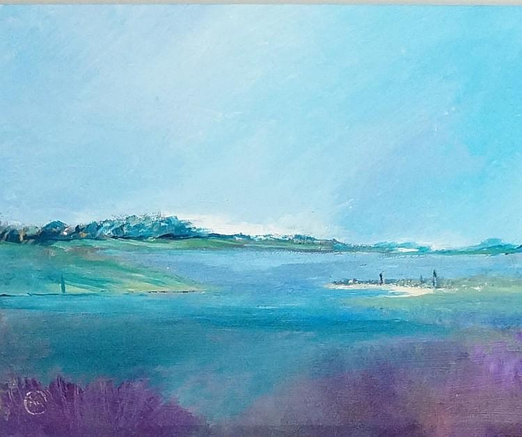 Sea Lavender, Norfolk, oil on canvas, monogrammed lower left, 24cm x 30cm,