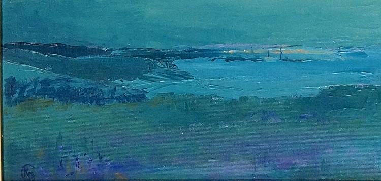 Norfolk Coast, oil on canvas, monogrammed lower left, 14cm x 29cm, framed