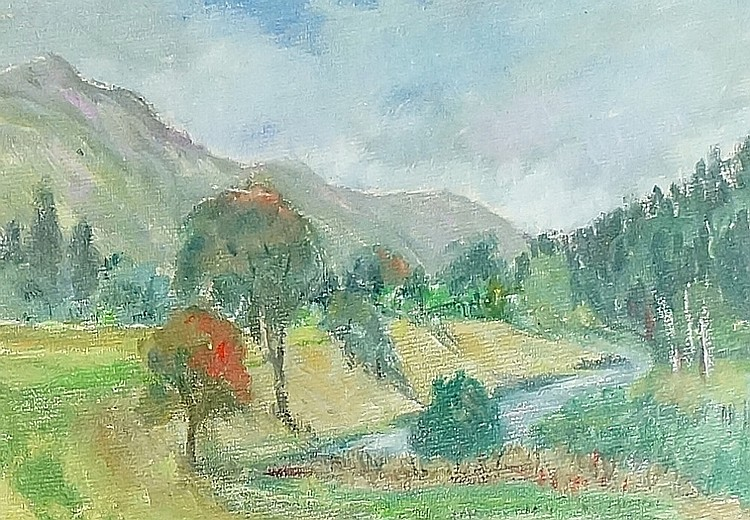 Glen Lyon, oil on artist board, monogrammed lower left, 14cm x 19cm, framed