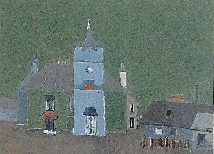 Impression Town House Kirriemuir, gouache, monogrammed lower left, 15cm x 2