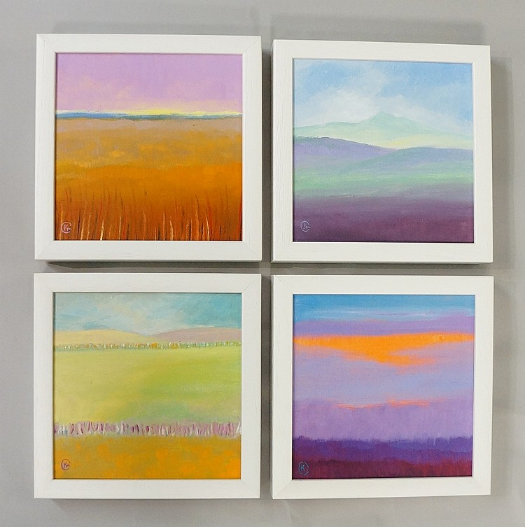 A set of four: Meadow, Evening Glow, Winter Calm & Towards Autumn, oils on