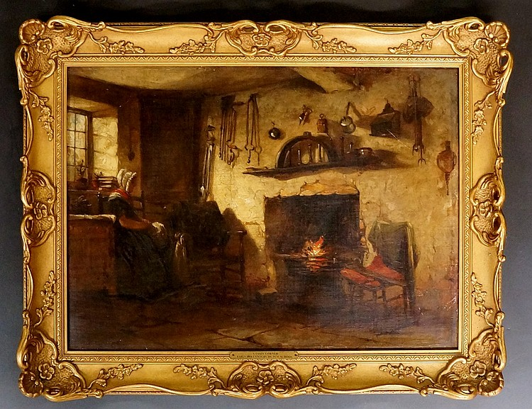 Dutch School, early 19th Century - A Cosy Corner, with female seated in fro