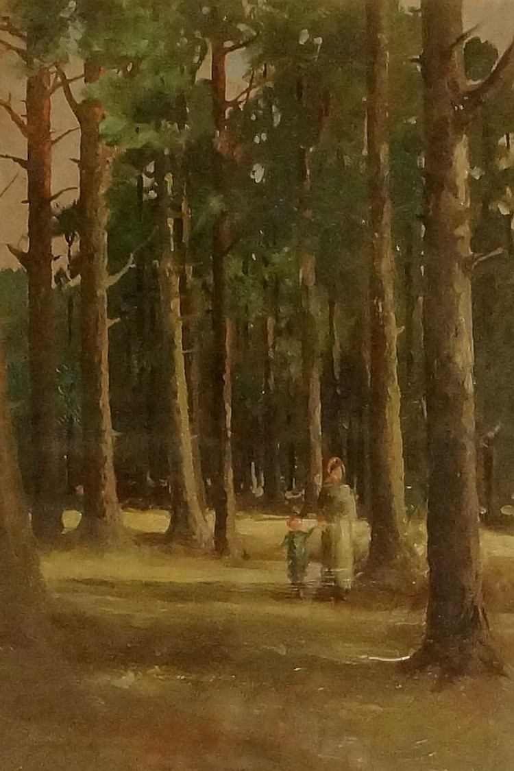 George Pope - mother and child walking through pine forest, oil on mahogany