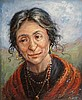 J Olive - Gypsy Woman, oil on artist board, signed lower right, 30cm x 24.5