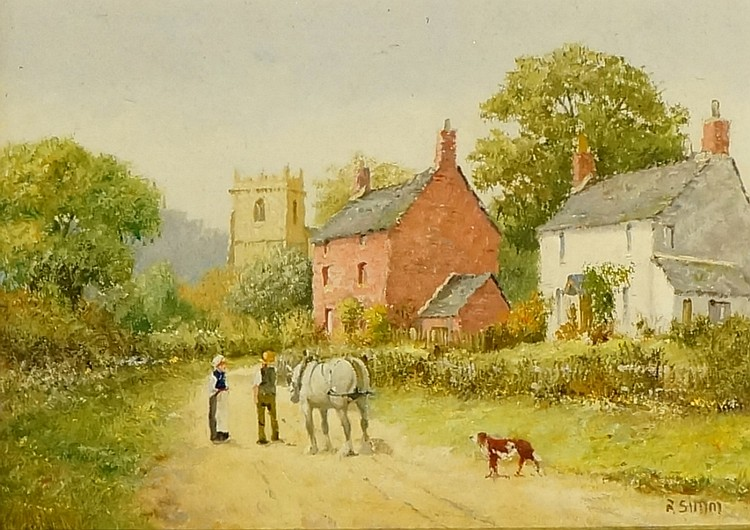 Richard Reid Simm - village scene with church and houses, figures with hors