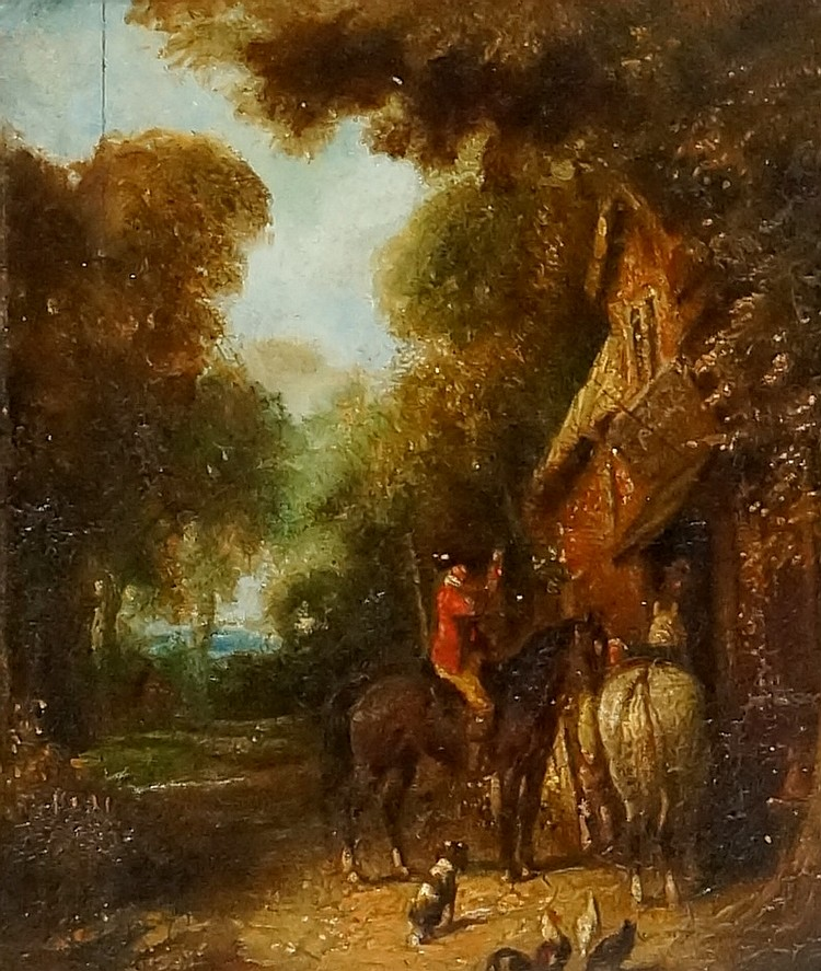 English School, late 18th / early 19th Century - rider on chestnut mare wit