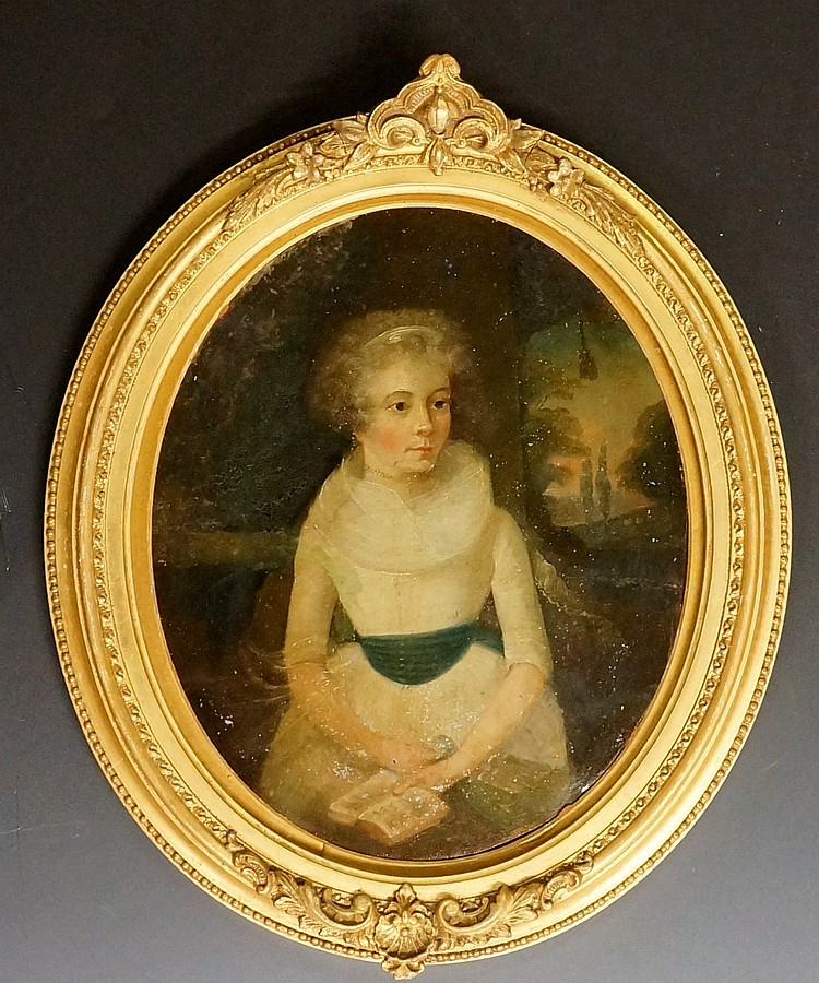 An 18th Century oval portrait of a young woman reading a book before an ext