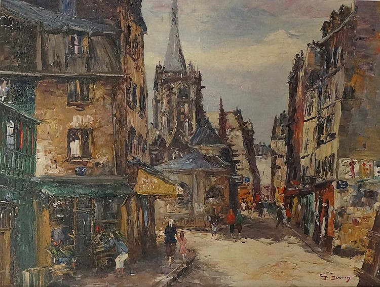 Georges Guérin (1891 - 1972) - continental street scene with church and bui