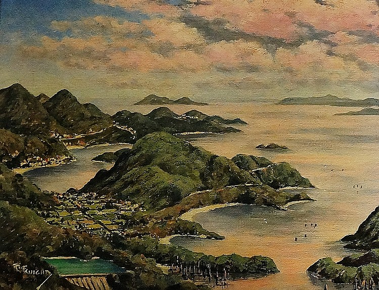 TGC? Knight - Hong Kong view from Mount Kellet seawards, oil on artist boar