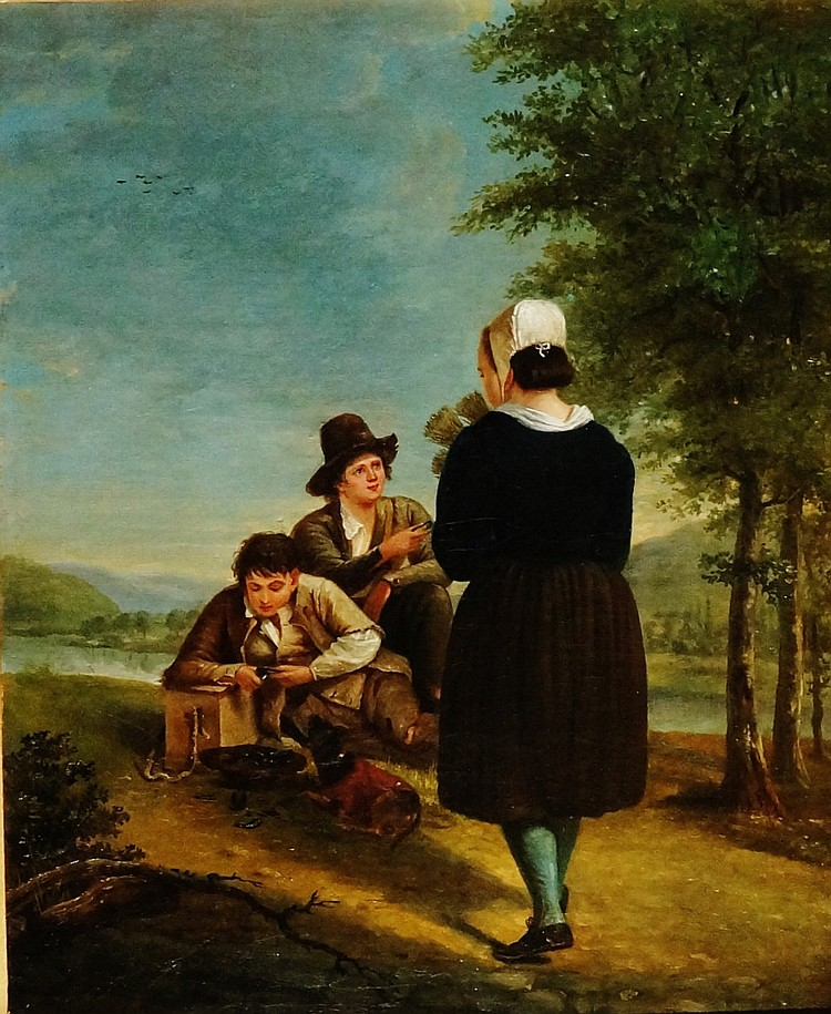 Fanny Mussel - two young boys eating mussels, dog at their feet, a young gi