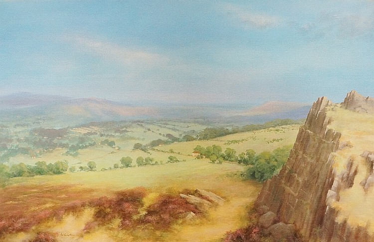 Woolston - extensive Derbyshire landscape, oil on canvas, signed lower left