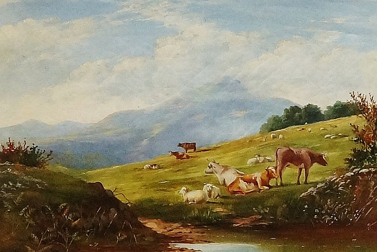 F. Bale - The Malvern Hills, cattle grazing, oil on canvas, inscribed verso