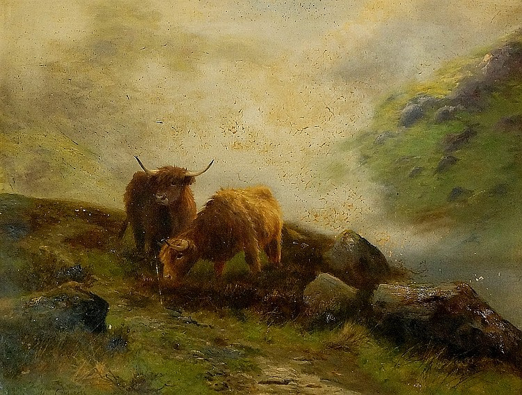 Douglas Cameron - Highland sheep in extensive misty landscape, oil on canva