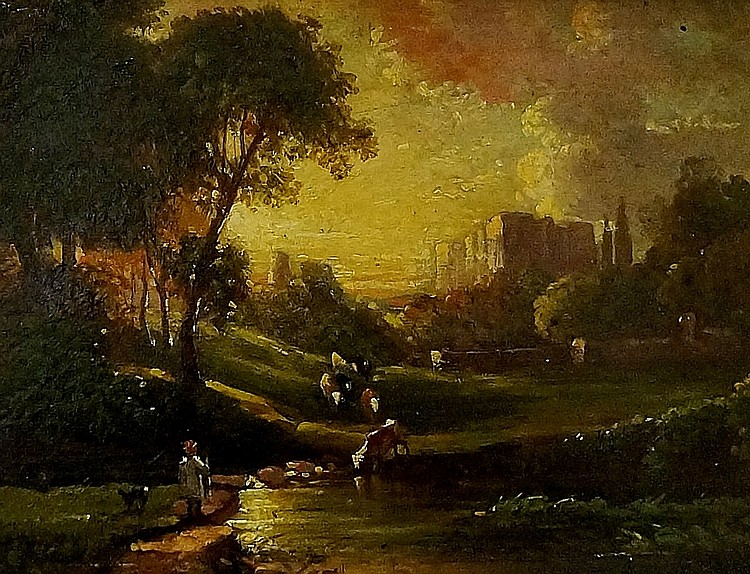 Edmund John Niemann (1813-1876) - Summer's Evening, Kenilworth Castle, oil
