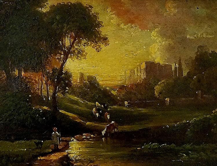 Edmund John Niemann (1813-1876) - Summer's Evening, Kenilworth Castle, oil