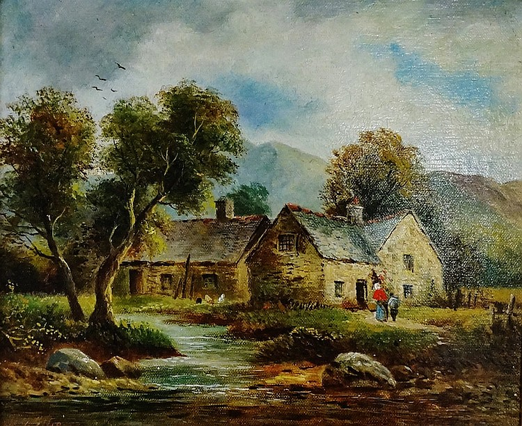 H.E.Ellis, a pair - Old Watermill at Dolgelly, North Wales and Cottages at