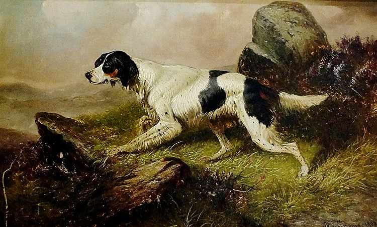 Colin Graeme Roe (fl.1858 - 1910) - English pointer in mountainous landscap