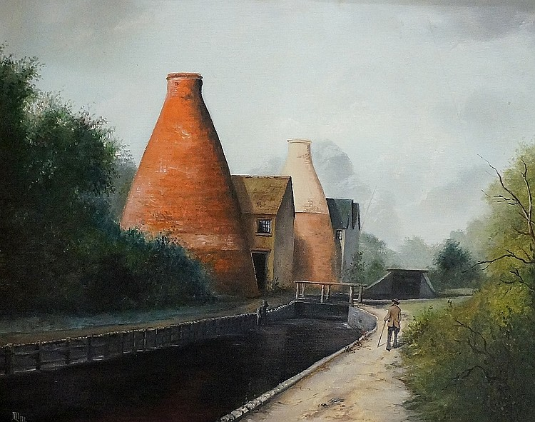 Michael Moore - gentleman potter walking by side of canal at Coalport, oil