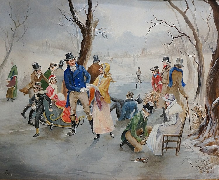 Michael Moore - skaters on frozen river, a winter scene, oil on canvas, ini