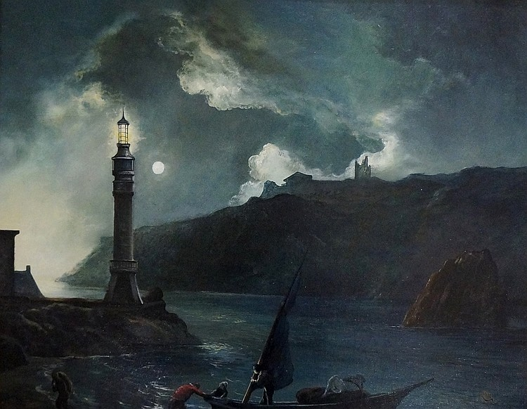 Michael Moore - The Lighthouse, after Joseph Wright of Derby, oil on board,
