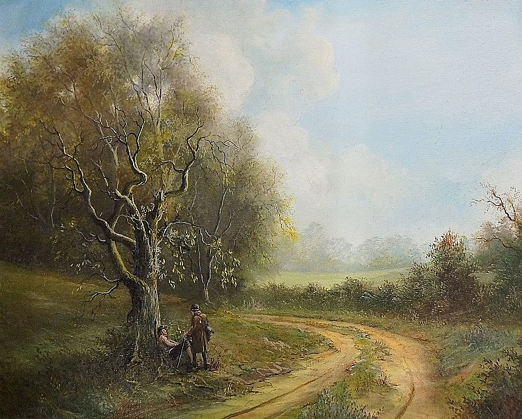 Michael Moore - travellers at the side of a road, an autumn landscape, oil