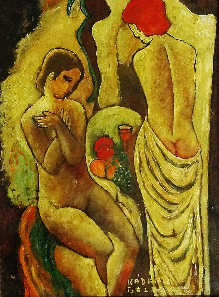 Bela Kadar ? - seated and standing female nudes with fruit and goblet, oil
