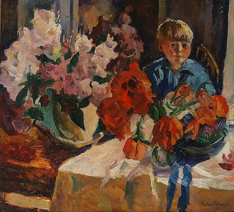 Arthur Forbes Dalrymple (Scottish School, b.1912) - still life of flowers w