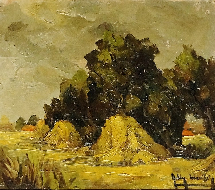 Belgian School, early 20th Century - blustery summer landscape with stooks,