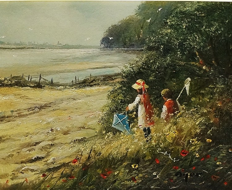 Ted Dyer - children with kite and butterfly net, summer coastal scene, oil