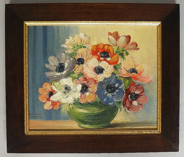 Walter Taylor - still life of peonies in a vase, oil on board, signed lower