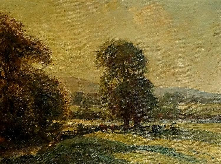Herbert Royle - On The Wharfe Addingham, oil on artist board, signed lower