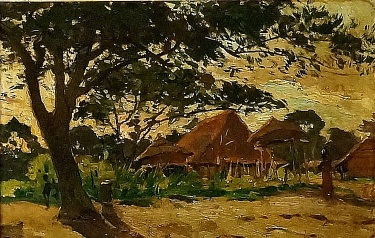 Leon Dardenne (1865-1912), South African School - Village Unoligene Près Lo