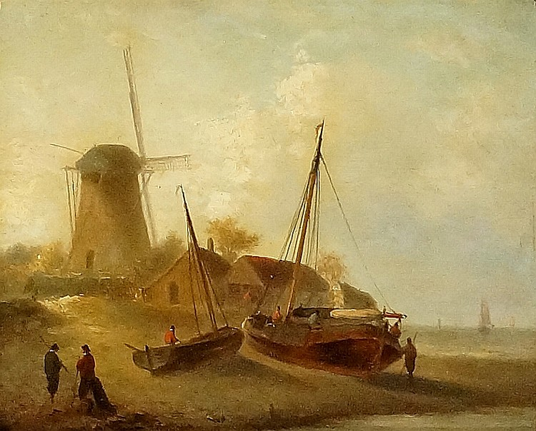 Dutch school, 19th Century - beached sailing boats before cottages and wind