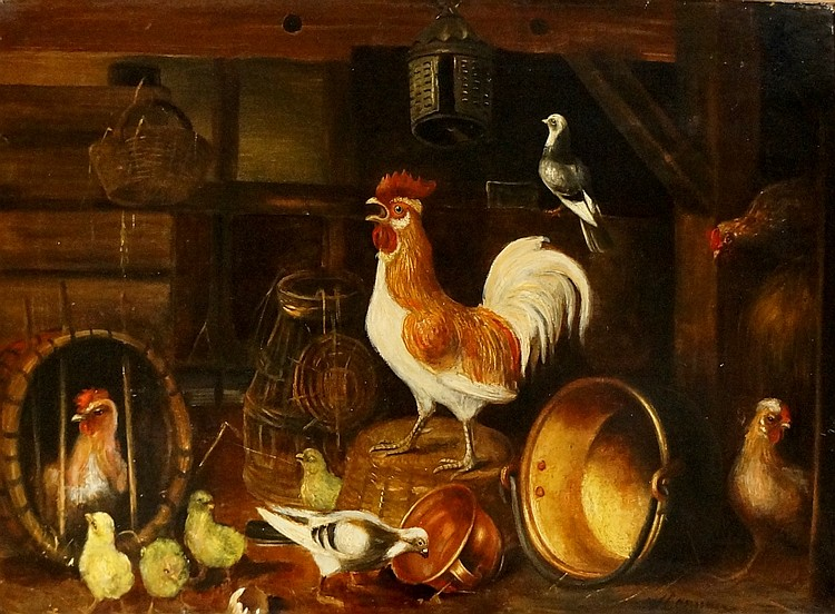 Wilhelm Albertus Lammers, Dutch (1857-1913) - chicks, chickens and cockere