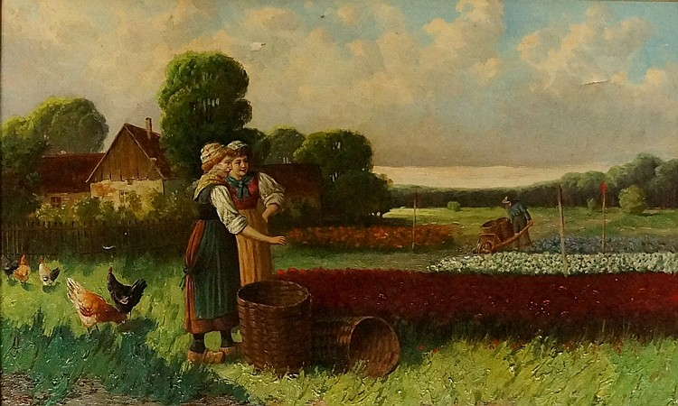 Dutch School, 19th Century - ladies picking flowers with baskets in the for