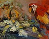 Smitts Kineette? - macaw and still life of flowers, oil on canvas, 48cm x 5