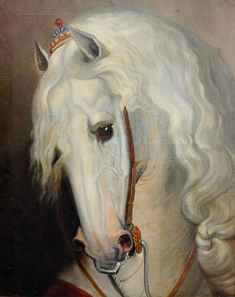 Balthasar Paul Ommeganck (1755-1826) - Lipizzaner stallion, head, oil on ca