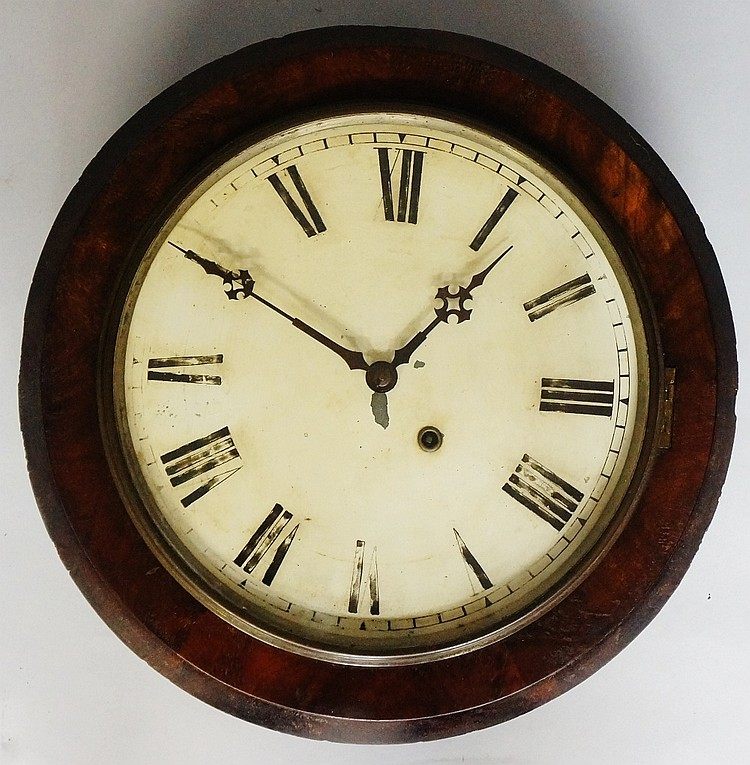 A Victorian mahogany cased wall clock, the cream enamel dial with Roman num