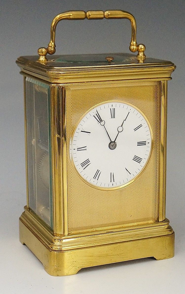 A 19th Century French Drocot brass cased repeating carriage clock with engi