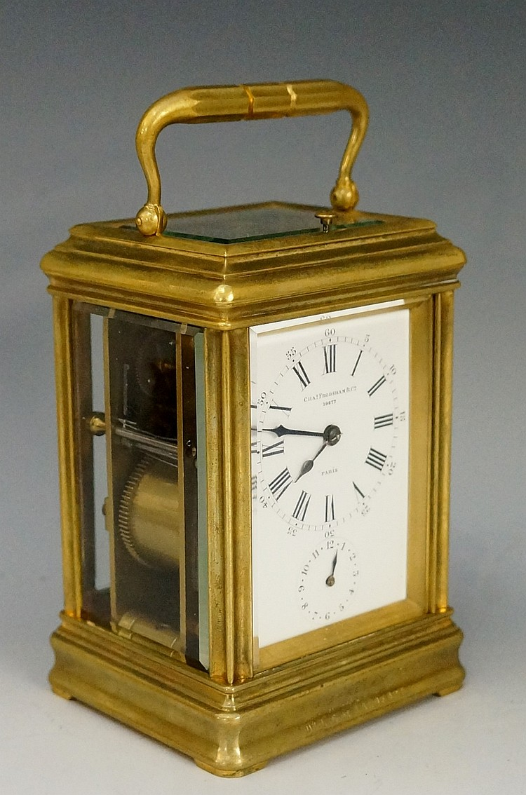 Charles Frodsham & Co. - a brass cased repeating carriage clock, the white