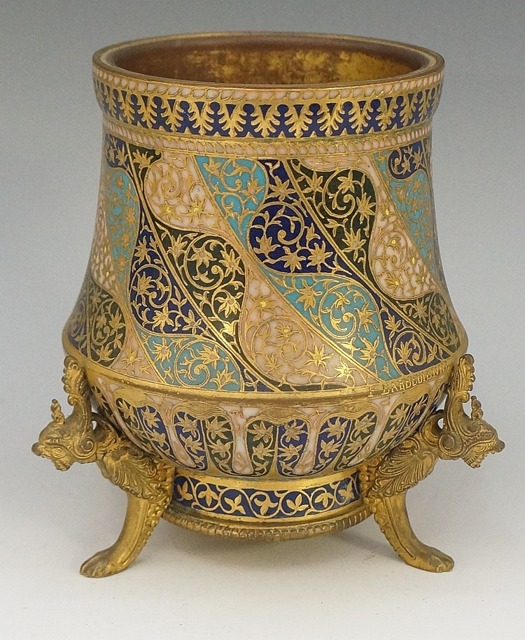 Barbedienne - a French champlevé enamel vase finely enamelled in