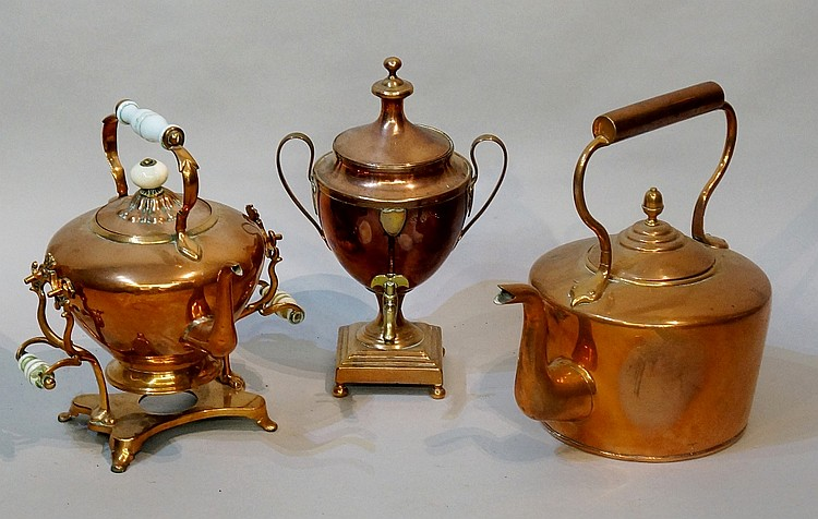 An early 19th Century two handled urnular shaped pedestal samovar with bras