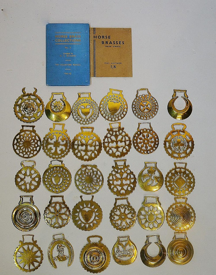 A quantity of horse brasses together with two books, one by H S Richards -