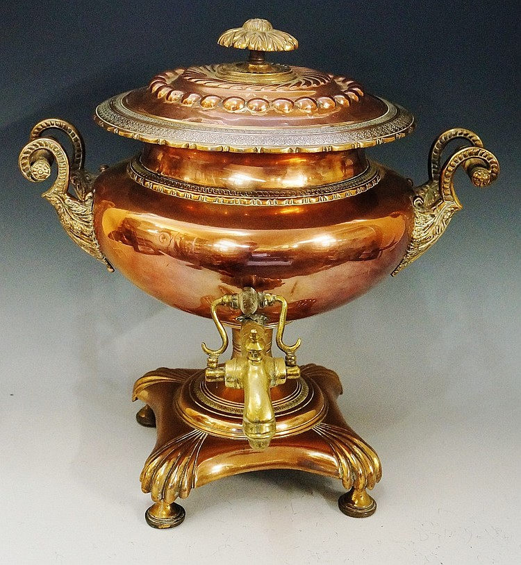 A Regency copper and brass samovar of compressed urnular shape, embossed do