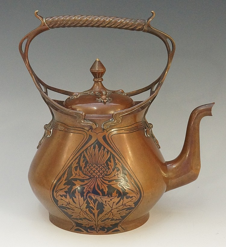 Carl Deffner (1856 - 1948) - An Art Nouveau copper kettle, pierced sinuous