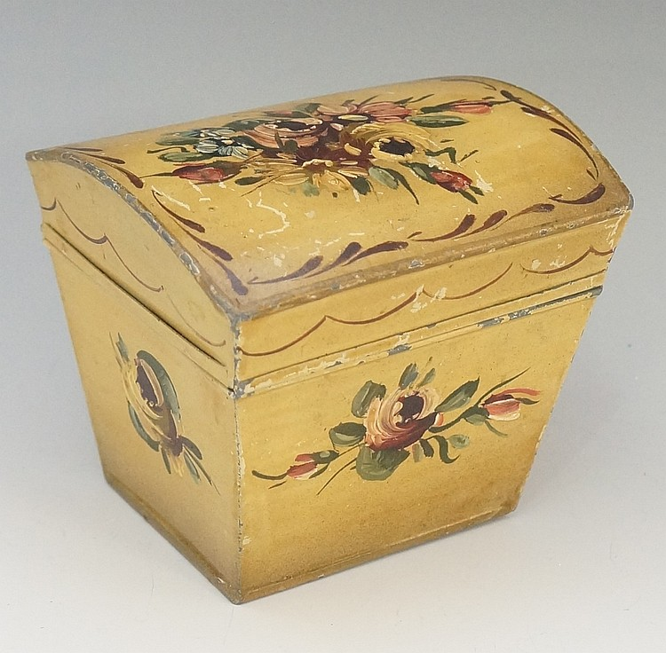 A tôleware dome topped tea box, the cream ground painted to the lid with fl