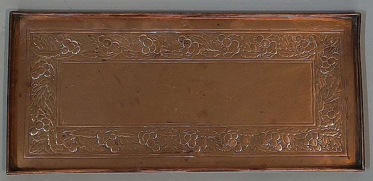 Keswick School of Industrial Art - a rectangular copper tray embossed with