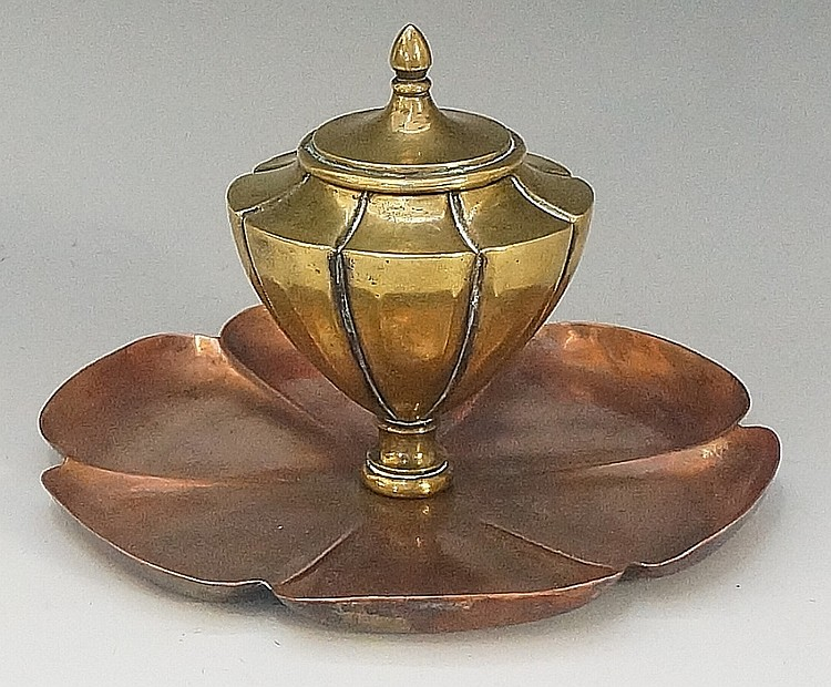W. A. S. Benson - a model 553A inkwell, the copper petal shaped base with f